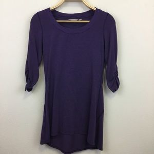 Athleta Purple Tunic High Low Hem Rouching - XS